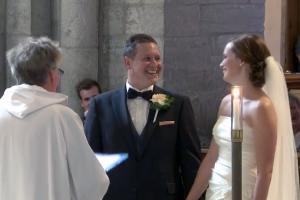 """Hampus och Sara hade """"Hem till Söder"""" som bröllopsmarsch."""